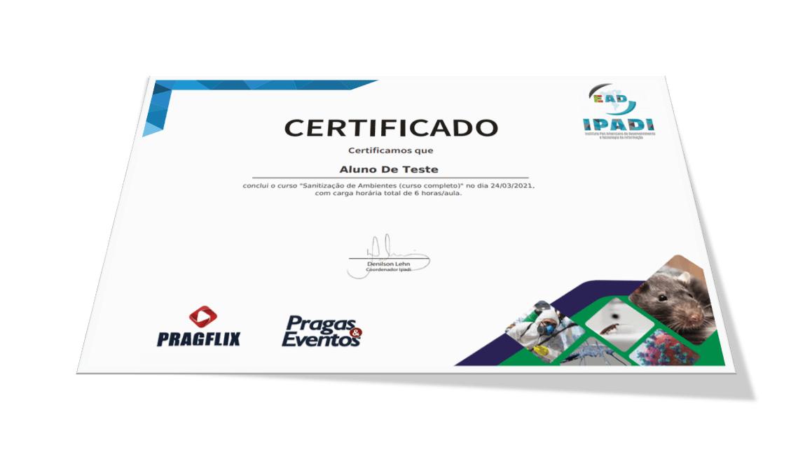 Certificados PragFlix Cursos de Sanitização e Higienização
